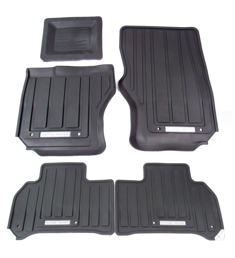 Genuine Rubber Floor Mat Set, Black, First And Second Row 5-Piece Set With Range Rover Logo, For Range Rover Sport 2014 - On