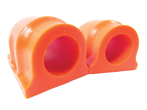 Polyurethane Front Bushings By Polybush For Front Sway Bar, Pair, Orange / Standard Firmness, For Land Rover LR3 And LR4 (See Fitment Years)