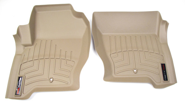 Floorliner™ Molded Mat By Weathertech®, Front Pair, Tan For Land Rover LR3, LR4 And Range Rover Sport