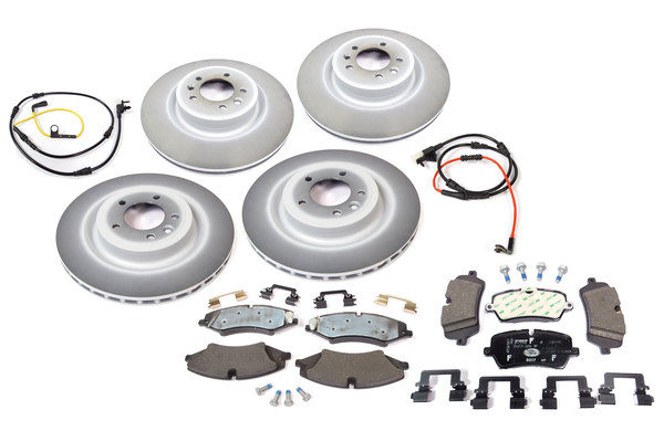 Front And Rear Brake Rebuild Kit, Includes Genuine Pads And Rotors And Quality Brake Wear Sensors, For Range Rover Full Size V6 3.0L Tdi