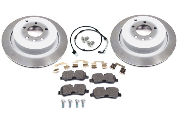 Geunie Rear Brake Rebuilding Kit, Includes Brake Pads, Rotors, Wear Sensor And Locator Screws, For Land Rover LR4, 2010 Only (See Fitment Notes)