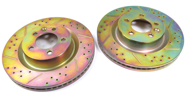 Performance Brake Rotors, Front, Drilled And Slotted Pair For LR3 V8 And Range Rover Sport