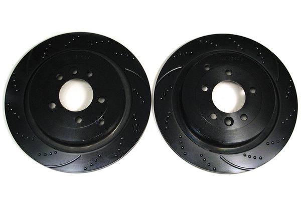Performance EBC Sport Brake Rotors, Rear, Dimpled And Slotted Pair For LR3 V8 And Range Rover Sport
