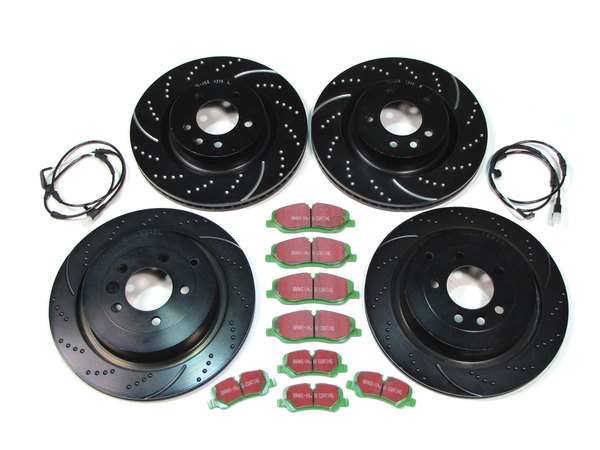 EBC Performance Brake Rebuild Kit, Front And Rear, With Greenstuff Pads And 3GD Sport Rotors, For Range Rover Sport