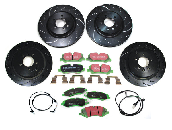 EBC Performance Brake Rebuild Kit, Front And Rear, 3GD Series Sport Brake Rotors And Greenstuff Pads With Wear Sensors For Land Rover LR4 3.0L V6, 2014 - 2016