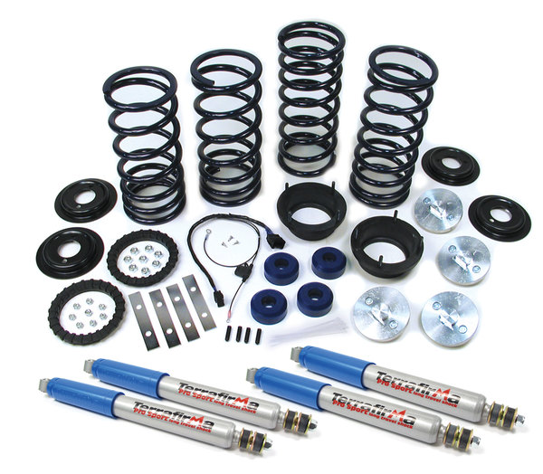 Lifted Profile Heavy Duty Air Suspension To Coil Spring Conversion Kit For Range Rover P38, Includes EAS Override Harness, Atlantic British Springs And Set Of 4 Terrafirma Performance Shocks (Adds 2 Inches Lift)