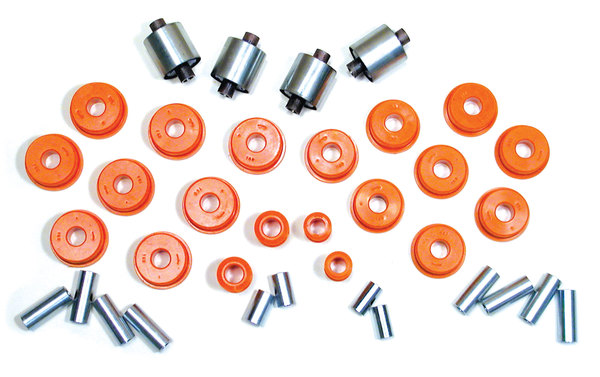 Polyurethane Bushing Kit By Polybush, Front And Rear Suspension, Orange Standard Firmness 75A, For Land Rover Discovery Series II