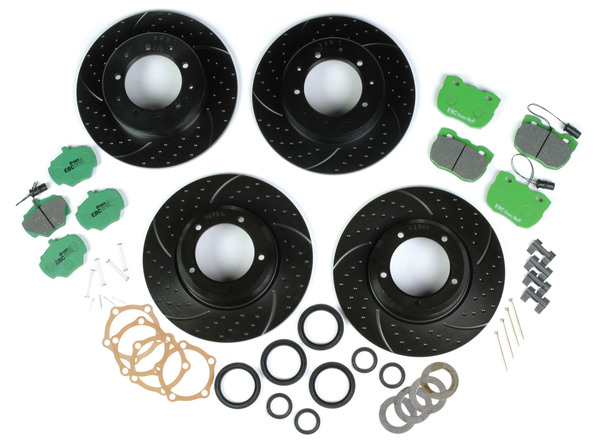 EBC Performance Brake Rebuilding Kit, Front And Rear, For Range Rover Classic, 1987 - 1989, With Greenstuff Pads, 3GD Sport Rotors, Hub Oil Seals And Hardware