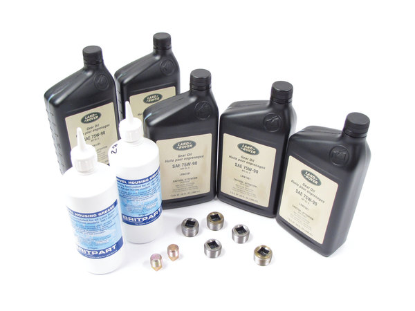 Differential And Axle Service Kit For Land Rover Defender 90 And 110, Includes 5 Quarts Differential / Axle Oil 75-W90R GL5 Fluid, Two 13-Oz Bottles Swivel Housing Grease, Seals And Hardware (See Fitment Years)