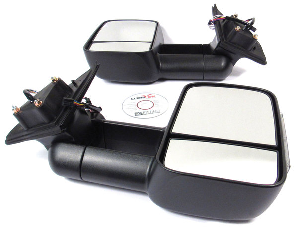 Clearview towing mirrors with integrated indicators product shot top view