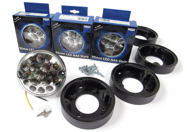 Front Light LED Upgrade Kit By Wipac, 4 Clear Lamps For North American Spec Defender 90
