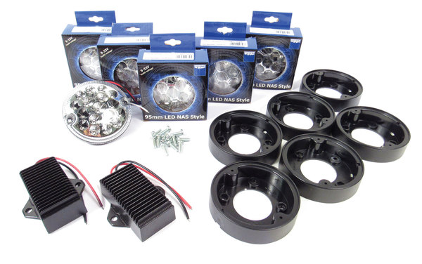 Rear Light LED Upgrade Kit By Wipac, 6 Clear Lamps For North American Spec Defender 90