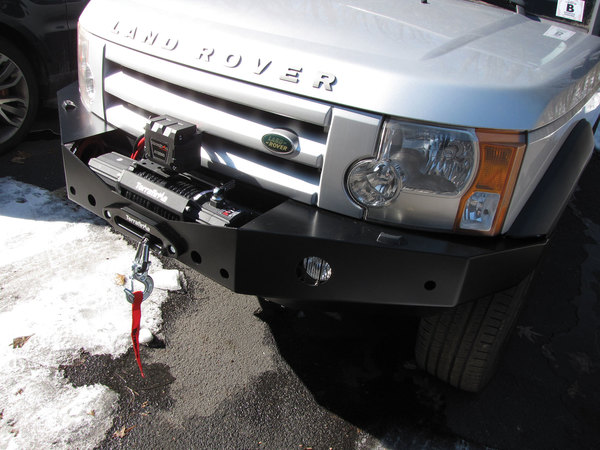 Integrated Steel Front Bumper And Winch Kit For Land Rover LR3, Includes 5MM Steel Bumper, Terrafirma A12000 12,000 Lb Winch, Wipac Fog Lights And Aluminum Washer Bottle
