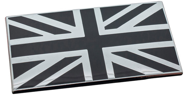 Union Jack Exterior Badge, Black & Chrome, 2 X 1.14 Inches