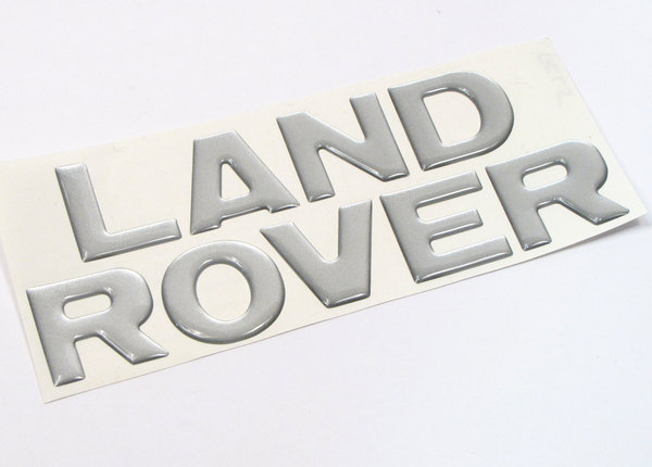 Decal - 'Land Rover' Text - Discovery 1 - Rear Bumper - Domed - Silver Metallic