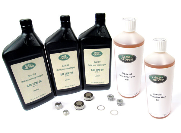 Differential And Transfer Case Service Kit, Front And Rear, For Non Electronic Differential Range Rover Sport Vehicles, Includes 3 Quarts Genuine Differential Oil 75W90R GL5, 2 Quarts Genuine Transfer Case Fluid, And Replacement Plugs And Washers