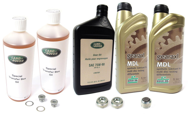 Differential And Transfer Case Service Kit For Range Rover Full Size L322, 2007 - 2009, Electronic Differential Vehicles-Only, Includes All Fluids And Replacement Drain And Fill Plugs