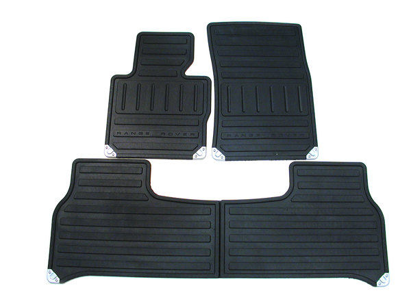 Genuine Black Rubber Floor Mat Set EAH000271PMA, Front And Rear Set Of 4, For Range Rover Full Size L322, 2003 - 2006