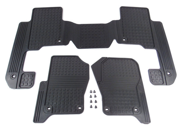 Genuine Black Rubber Floor Mats, 3-Piece Set EAH500050PMA, 1st And 2nd Row, For Land Rover LR3, 2005 - 2007