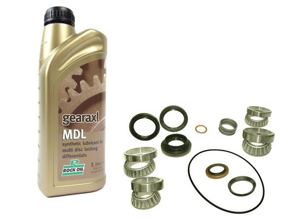 Bearing And Seal Overhaul Kit, Front Power Transfer Case Intermediate Reduction Drive (IRD), Includes 1 Quart Gearaxl MDL Synthetic Differential Fluid By Rock Oil, For Range Rover Evoque With Active Drivline