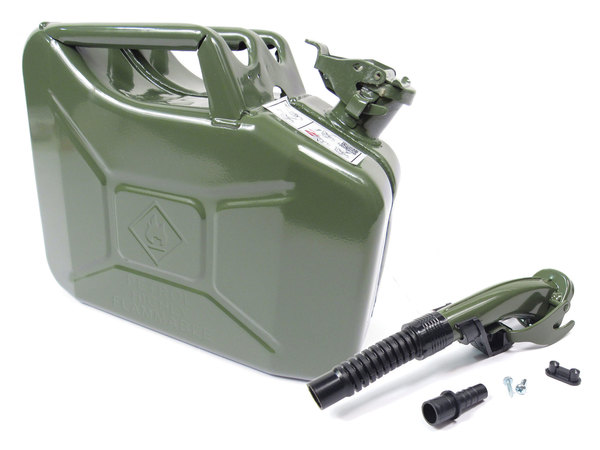 NATO Jerry Can 10 Liter / 2.6 Gallon Metal With Flexible Nozzle / Spout, Olive Drab Green, Manufactured In Europe To NATO Military Spec