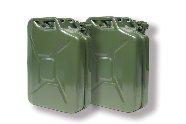 Pair Of NATO Jerry Cans 20 Liter / 5 Gallon Metal, Olive Drab Green (GJC20), Built To European Military Spec By VALPRO