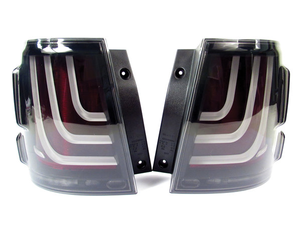 Glohh Gl-3X LED Tail Lights, Black / Smoke Rear Pair, Dynamic Sequential Fiber Optic Lamps, For Range Rover Sport, 2006 - 2013