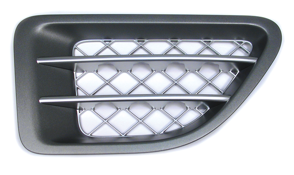 Genuine Side Intake Grille JAK500320WWH, Right Hand, Supercharged Style, Tungsten Titanium, For Range Rover Sport, 2006 - 2009 (See Fitment Notes)
