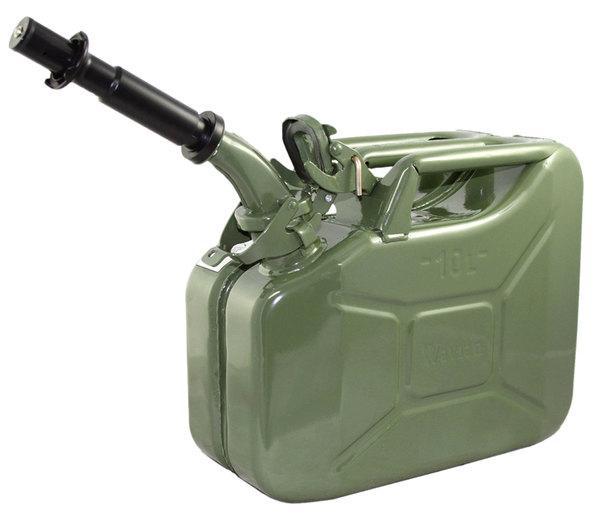NATO Style Jerry Can (CARB-Approved / EPA-Approved) 10 Liter / 2.6 Gallon Metal, Olive Drab Green, Built To European Military Spec By Wavian