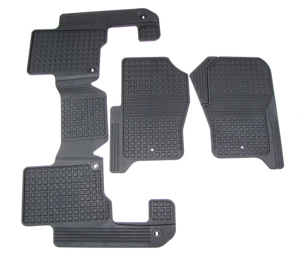 Genuine Rubber Floor Mats, 3-Piece Set LR006238, 1st And 2nd Row, Black, For Land Rover LR3 And LR4