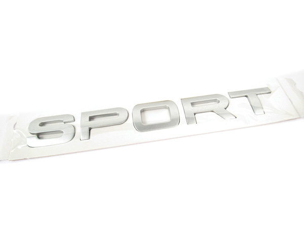 'Sport' Text Replacement Badge For Rear Of Vehicle, Titan Silver, Original Equipment LR020469, On Range Rover Sport, 2006 - 2013
