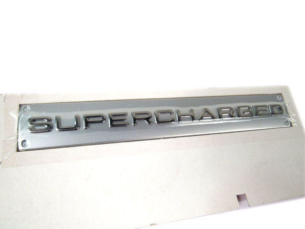 Badge -Supercharged-Chrome Plated W/Satin Background