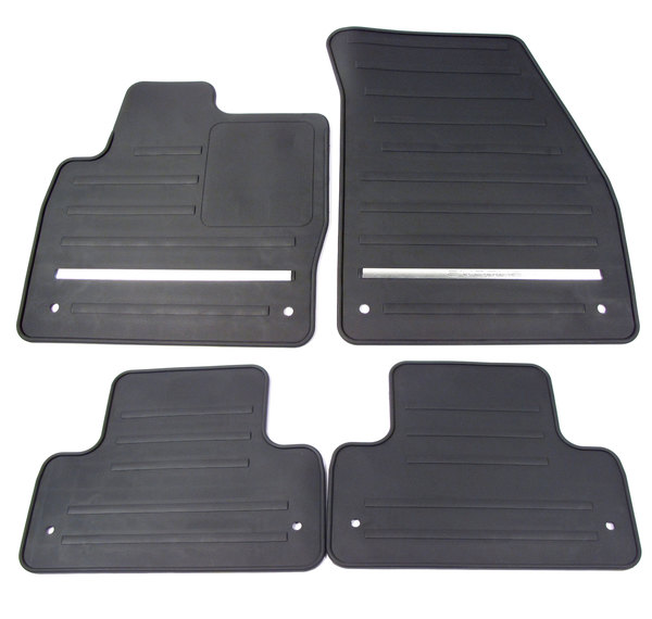 Rubber Floor Mats: 4-Piece Set, Front & Rear Black