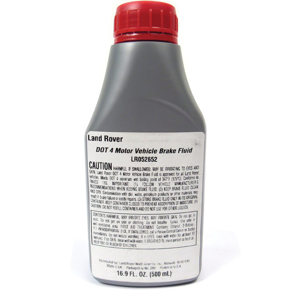 Genuine Land Rover Brake & Clutch Fluid, DOT 4, 16.9 Ounce / 500 ML Bottle