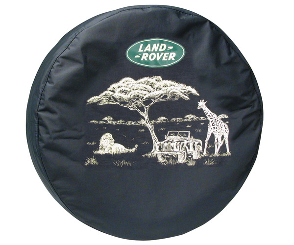 Genuine Wheel Cover For Spare Tire With Land Rover Logo (Safari Scene Design) For Land Rover Discovery 1 And Discovery Series 2