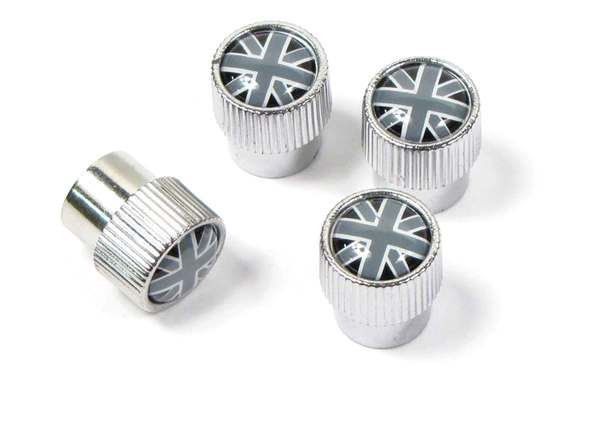 Tire Valve Caps (Set Of 4) Black & Gray Union Jack