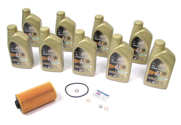 Complete Oil Change Kit For Range Rover Full Size L322, 2003 - 2005, Includes Oil Filter LPW500030 By MANN, 9 Quarts Original Equipment Castrol Edge Professional 5W-30 Oil, Replacement Fill Plug With Washer, And Reminder Sticker