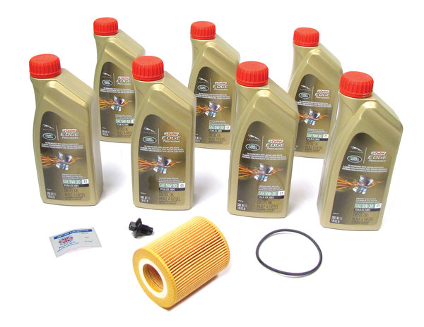Complete Oil Change Kit For Land Rover Discovery 5 Diesel, Range Rover L405 Tdi, And Range Rover Sport Tdi, Includes Cartridge Oil Filter With Seal By MANN, 7 Quarts Original Equipment Castrol Edge Professional 5W/30 Oil, And Reminder Sticker