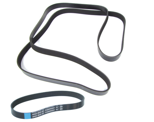 Belt Kit, One Primary Serpentine Drive Belt PQR500320 And One Secondary Drive Belt PQS500221 For Range Rover Full Size L322, 2006 - 2009