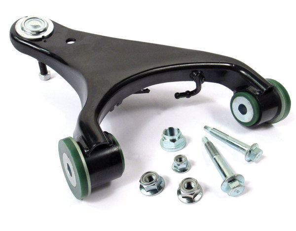Suspension Control Arm RBJ500222, Upper Front Right Hand, Upgraded With Preloaded Semi-Firm Green Polyurethane Bushings And Bolt Kit, For Land Rover LR3