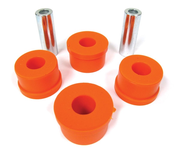 Rear Lower Control Arm Polyurethane Bushings By Polybush, Pair, Orange Standard Firmness, For Range Rover Full Size L322, 2006 - 2012