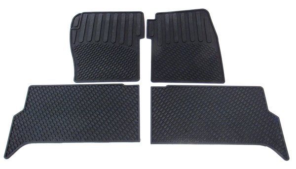 Rubber Floor Mats, 3-Piece Set, Front And Rear, Black For Land Rover Discovery Series 2