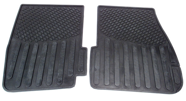 Genuine Front Rubber Floor Mats, 2-Piece Set, Black Pair For Land Rover Discovery Series 2
