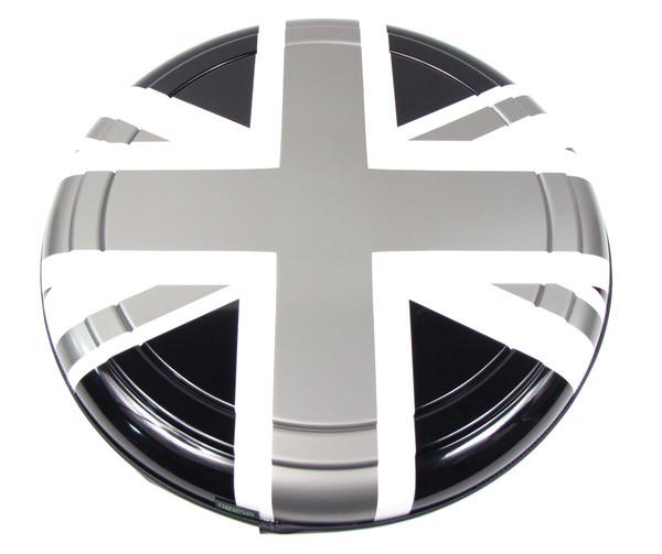 Boomerang Rigid Wheel Cover For Spare Tire (Black, White & Pewter Gray Union Jack Design)