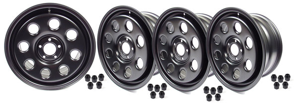 Steel Wheels By Terrafirma, Set Of 4, Satin Black 18 X 8 Inch, For Land Rover LR3, Range Rover Sport And Range Rover Full Size L322 (See Fitment Years)