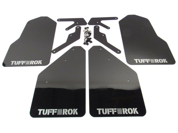 Tuff-Rok Front And Rear Mud Flap Kit, Gloss Black With Tuff Rok White Logo, For Land Rover LR3