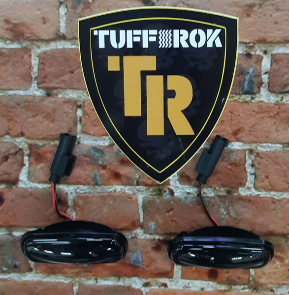 LED Dynamic Side Marker Repeater Lamps With Dark Lenses, Pair, By Tuff-Rok For Land Rover Discovery Series II