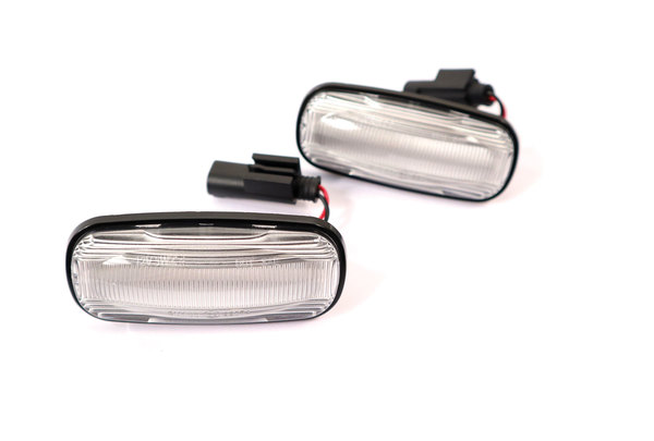LED Dynamic Side Marker Repeater Lamps With Clear Lenses, Pair, By Tuff-Rok For Land Rover Discovery Series II