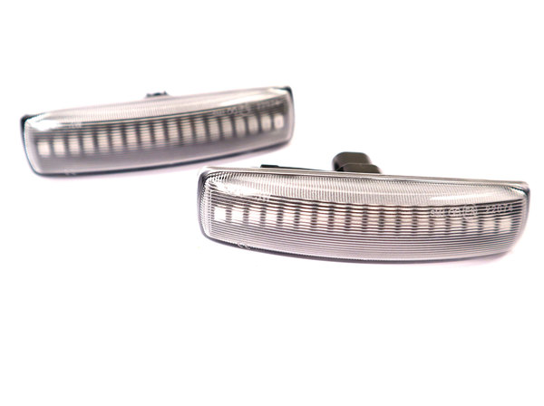 Dynamic LED Side Marker Repeater Lamps With Clear Lenses, Pair, By Tuff-Rok For Land Rover LR3