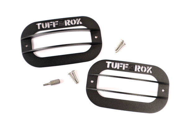 Side Marker Repeater Lamp Guards With Logo, Pair, By Tuff-Rok For Land Rover Discovery Series II